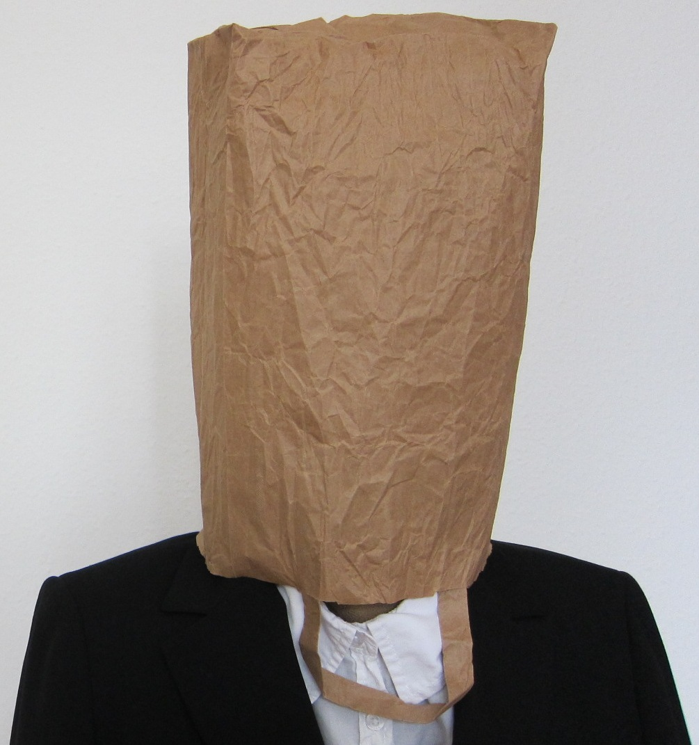 person with paper bag over their head